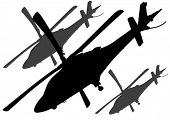 Vector drawing a big military helicopter