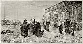 People leaving church in Auvergne, France, old illustration. Created by Berthon, published on Magasin Pittoresque, Paris, 1882