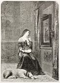 Widow old illustration. Created by Willems, published on L'Illustration, Journal Universel, Paris, 1863