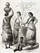 Group of Indian women old illustration. Created by Godefroy-Durand, published on L'Illustration, Journal Universel, Paris, 1863
