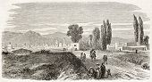 Mexico city entrance road coming from Puebla. Created by Provost after Pingret, published on L'Illustration, Journal Universel, Paris, 1863