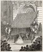 Empress Eugenie at Legion of Honour prize giving ceremony. Created by Bertall, published on L'Illustration, Journal Universel, Paris, 1863