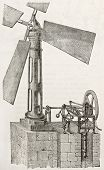 Bernard apparatus old illustration (wind pump). Created by Lambert, published on L'Illustration, Journal Universel, Paris, 1863