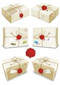 Many parcels wrapped in white paper tied with twine isolated on white background. Vector illustratio