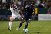 CARSON, CA. - MAY 14: Los Angeles Galaxy F Chad Barrett #11 (L) & Sporting Kansas City F Kei Kamara