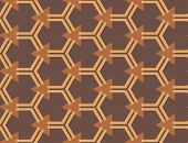 Vector Seamless Geometric Pattern. Shaped Light Brown Line Hexagons, Brown Triangles On Dark Brown B poster