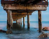 Marbella Club Bridge Below, With Silk Water And Pillars Seen In The Mediterranean Sea, Marbella Mála poster