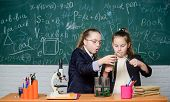 Make Studying Chemistry Interesting. Educational Experiment Concept. Microscope And Test Tubes On Ta poster