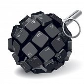 Black keyboard grenade on white background. Rasterized version