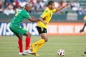 CARSON, CA. - JUNE 6: Grenada D Leon Johnson #14 (L) & Jamaica F Ryan Johnson #9 (R) during the 2011