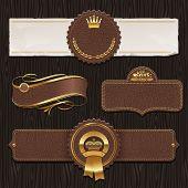 Vector set of leather & golden framed labels