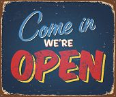 Vintage tin sign - Open sign - Raster version