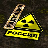 Radiation Pollution In Russia. Translation Text: radioactive, Russia. A Warning Yellow Sign Of Rad poster