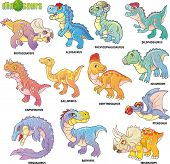 Cartoon Cute Prehistoric Dinosaurs, Set Of Images, Funny Illustrations poster
