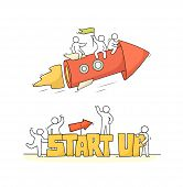 Cartoon Working Little People With Word Startup. Doodle Cute Miniature Scene Of Workers With Flying  poster