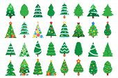 Christmas Trees. Decorated New Year Tree, Green Spruce And Gift Box Under Xmas Tree. Winter Holiday  poster