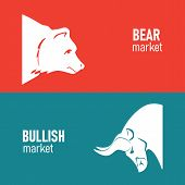 Bullish And Bearish Symbols On Stock Market Vector Illustration. The Symbol Of The Bear And The Bull poster