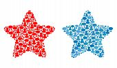 Red Star Mosaics Of Message Clouds And Men Symbols. Vector Mosaic In Blue Color Shades. Customers An poster