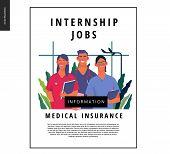 Medical Insurance -medical Internship Jobs -modern Flat Vector Concept Digital Illustration - Young  poster