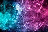 Smoke Of Pattern Pink And Blue   On A Dark Isolated Background.  Scary And Mysterious Symbol poster