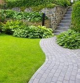 stock photo of grass area  - Garden stone path with grass growing up between the stones - JPG
