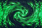 Green Blue Matrix Digital Background. Distorted Cyberspace Concept. Characters Fall Down In Wormhole poster