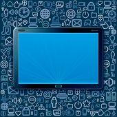 Tablet PC mit Cloud-Programm und Web icons