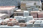 Granite Stones Are Sold In Construction Market. Construction Materials. Building Materials For Decor poster