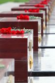 Flowers at memorial to tomb of Unknown Soldier in Alexander Garden at Victory Day