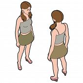 Isometric woman front and back pose