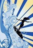 Постер, плакат: Иллюстрация с серфера на Голубая волна