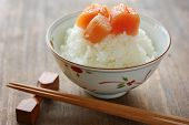 erfahrene Kabeljau roe(mentaiko) auf die Reisschüssel, japanisches Essen