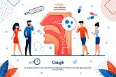 Informational Flyer Cough Lettering Trendy Flat. Medical Check-ups Patients With Chronic Diseases. C poster