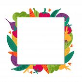 Harvest Time Flat Vector Square Empty Frame. Agriculture Harvesting. Fall Season, Ripe Vegetables Bo poster