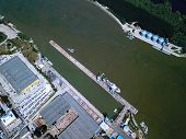 Aerial View Of Ship Loading Docks In Braila Romania Eastern Europe poster