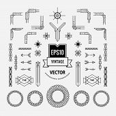 Set Of Vintage Linear Thin Line Art Deco Retro Geometric Shape Design Elements With Frame Corner Bad poster