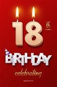 Burning Birthday Candle In The Form Of Number 18 Figure And Happy Birthday Celebrating Text With Par poster