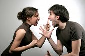 stock photo of hysterics  - A boy and girl having an angry confrontation - JPG