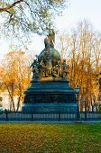 Veliky Novgorod, Russia. The Bronze Monument Millennium Of Russia In The Autumn Park In Veliky Novgo poster
