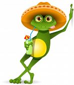 stock photo of glass frog  - green frog in a sombrero and a cocktail - JPG
