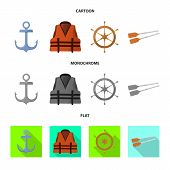 Vector Design Of Journey And Seafaring Icon. Set Of Journey And Vintage Stock Symbol For Web. poster