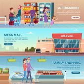 Shopping Banners. People In Grocery Food Market Gourmet Retailers Shelves Vector Mall Interior Illus poster