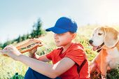 Little Smiling Boy Weared Baseball Cap With A Huge Baguette Sandwich With His Beagle Dog Friend Duri poster
