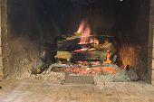 Warm Winter Fire Place poster