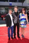 LOS ANGELES - APR 10:  Damian McGinty, mother Joanne and father Damian arrives at