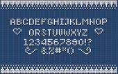 Christmas Knitted Font. Nordic Fair Isle Knitting Sweater Design. Knitted Latin Alphabet. poster