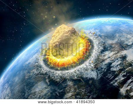 Постер, плакат: Большой астероид сбой на поверхности земли как планеты Цифровые иллюстрации , холст на подрамнике