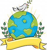 Illustration of a Dove Carrying an Olive Branch Standing on Top of a Globe