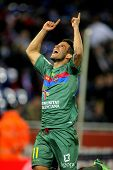 BARCELONA - FEB, 2: Ruben Garcia of UD Levante celebrating goal during a Spanish League match between Espanyol and Levante at the Estadi Cornella on February 2, 2013 in Barcelona, Spain