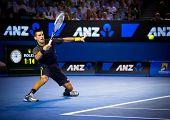 MELBOURNE - JANUARY 24: Novak Djokovic of Serbia in his semi final win over David Ferrer of Spain at the 2013 Australian Open on January 24, 2013 in Melbourne, Australia.